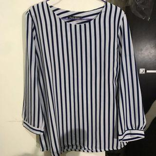 Stripes Blouse Biru Tua