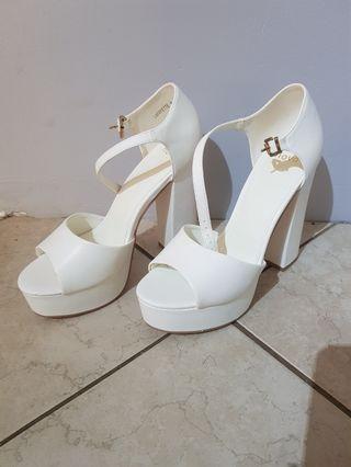 White Block High Heels