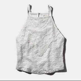 abercrombie & fitch white lace halter top