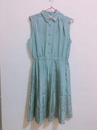 古著湖水藍無袖洋裝