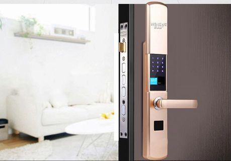 Password sensing intelligent home electronic large indoor key APP sliding cover anti-theft door automatic fingerprint lock(Black)