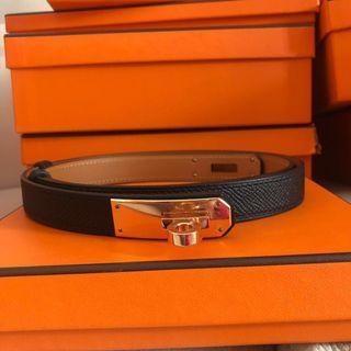 🚚 BNIB Hermes Kelly belt black with rose gold