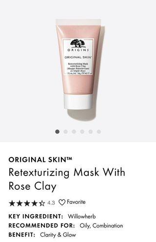🚚 Origins Retexturizing Mask with Rose Clay 30ml (travel size)