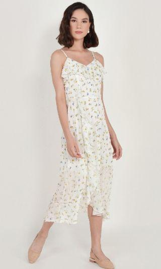 HVV Ophelia floral ruffle maxi dress in white
