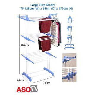asotv 3 tier foldable clothes drying rack - large 0029