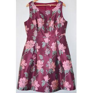 REVIEW BERRY EMBROIDERED FLORAL BROCADE POCKET COCKTAIL DRESS *NWOT* 16
