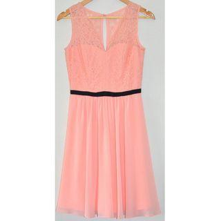 REVIEW ELSPETH PEACH & BLACK BOW LACE SLEEVELESS COCKTAIL FORMAL DRESS *NWT* 8