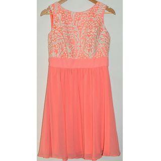REVIEW CORAL PEACH & IVORY FLORAL EMBROIDERED SLEEVELESS COCKTAIL DRESS *NWT* 12