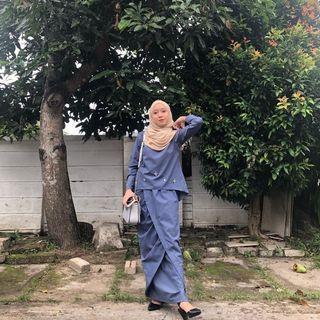 Ivy Kurung in Dark Blue
