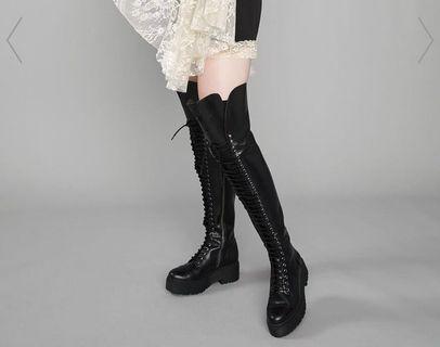 Dolls kill black thigh high boots