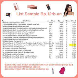 [BARU] SAMPLE Rp.12K Kiehl's YSL TBS Sephora