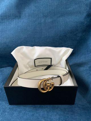 Gucci 白色 Double G leather belt 80cm