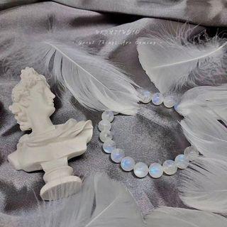 100%natural romance Moonstone crystal quartz 8.3mm bracelet bangle healing arte carat pandora swarovski tiffany monica vinader joyce lane crawford 外國巴西通透顆顆藍光彩光月亮石 月光石 天使之羽 浪漫溫柔 愛情 姻緣 天然水晶