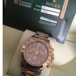 Rolex Daytona 116523 Two Tones Half Gold rare grey Dial. Full set.