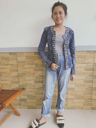 Embellish jeans jacket
