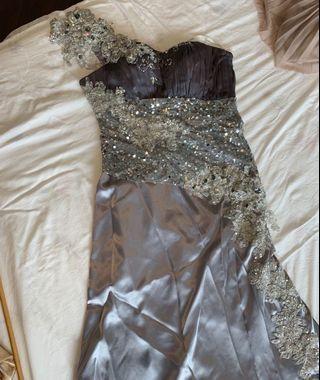 晚裝裙 結婚 媽媽裙 長裙拖地裙 紫色 銀色釘花石 韓國貨
