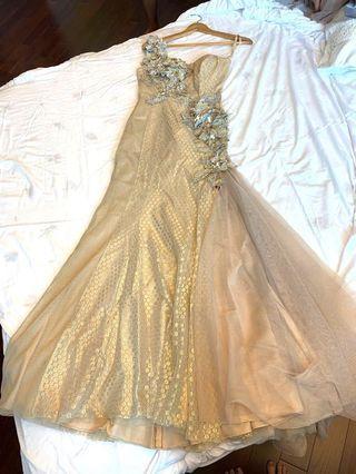 晚裝裙 媽媽裙 金色 結婚裙 花 閃 韓國貨 長裙拖地裙 金色 銀色釘花石