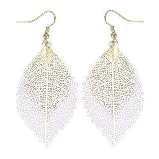 Vintage Bohemian Leaves Drop Earrings (White)