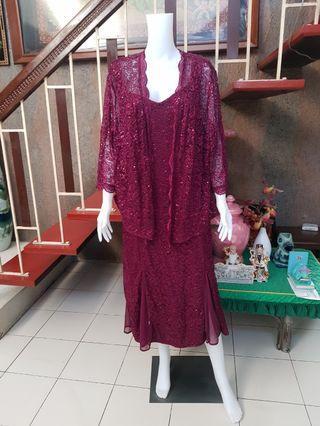 R&M Richards Red Maroon 2 piece Gown Size 16 XXL