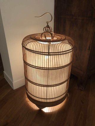 Customised bird cage lamp in Bamboo