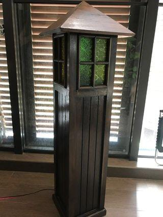 Standing Light Lamp Wooden Stained Glass Patio