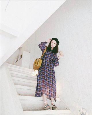 🚚 Dresscode 紫色格紋洋裝