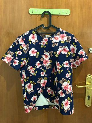FLOWER Crop Top Navy