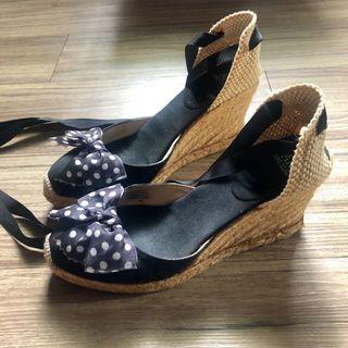 AK Anne Klein 黑白水玉蝴蝶結 綁帶楔型涼鞋/草編鞋/厚底鞋