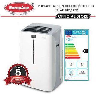 EuropAce Portable AirCon (10KBTU / 12KBTU) (EPAC 12T8/10Q/10P/12P) - 5 YEARS WARRANTY*