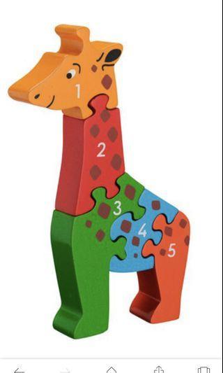 👶🏻👧🏻👦🏻 1-5 Wooden Giraffe Puzzle.