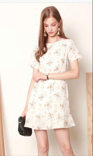 ACW Summer Floral sleeve dress in white