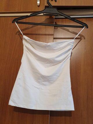 Bershka Strapless White Top - Size S