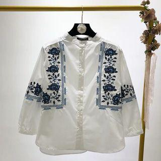 Loose Fitting Vintage Ethnic Blue Blue Flower Embroidered Three-Sleeve Loose Shirt Shirt