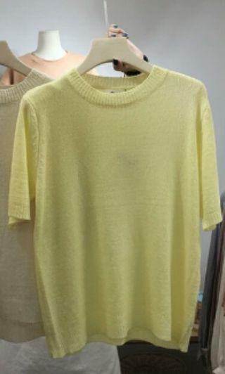 🚚 檸檬黃色寬鬆微透膚針織衫