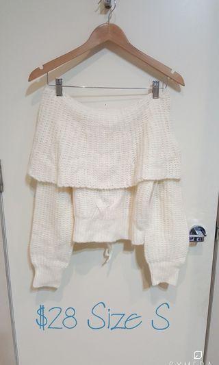 """Snidel"" Japanese Brand Baby Powder White Off Shoulder Knit (Size S)"