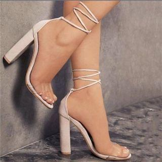 [PO] comfy lace up heels avail in 2 colours!
