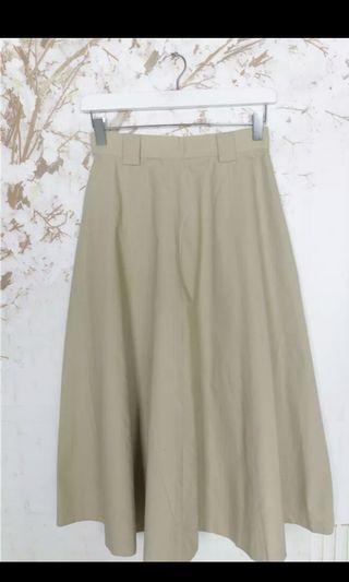 🚚 日系古著高腰傘裙(卡其)