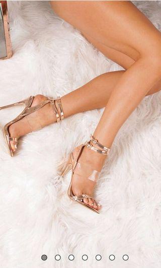 Rose Gold Transparent Strap High Heels size 6 BNIB