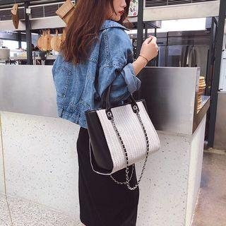 Simple large-capacity wool chain bag 2019 new women's bag shoulder bag large diagonal fashion woolen shopping bag sling bag