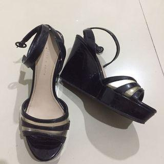Charles and keith wedges black