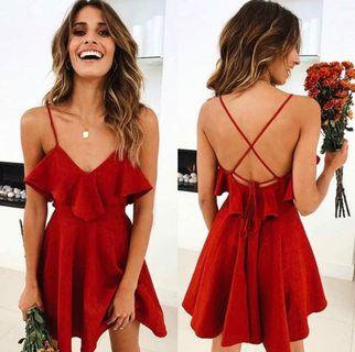 [PO] V neck halter strap dress