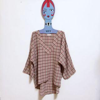 🌙裸色格紋V領上衣•Vintage