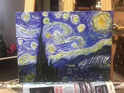 🚚 30x40cm oil painting on canvas wooden frame (replica of starry night)