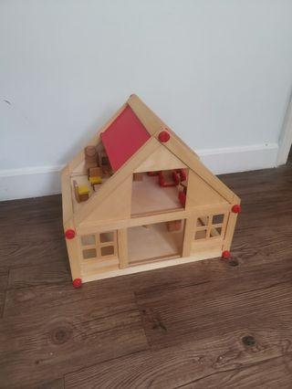 Natural Wood Handmade Toy House with Furniture