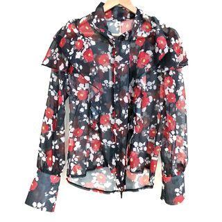 Black Floral Ruffle Button Down Blouse