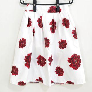 White Midi Skirt With Red Flowers