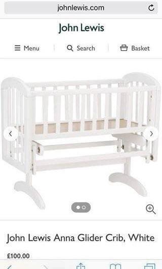 John Lewis White Baby Bed (Birch)