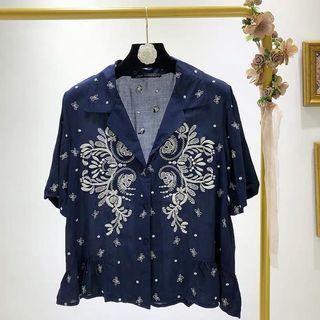 Embroidered short-sleeved suit collar short shirt shirt