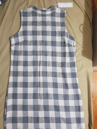 Grey and White Checked Dress (new with tags)