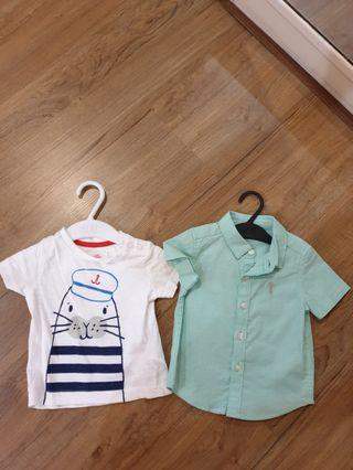 Lot of 2 baby boy top next and mothercare